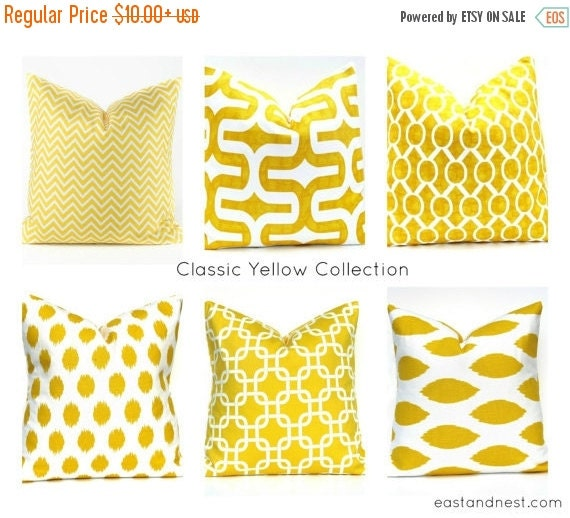 15% Off Sale SALE Decorative Yellow Pillows Light Yellow Pillow Throw Pillow covers Housewares Home Decor Print on both sides Chain Bright y