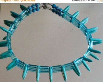 SALE 48%OFF Handmade Needle Pendant Beads Blue Glass Beaded Necklace Howlite Turquoise African Tribal Primitive Punk Rock Choker One of a Ki