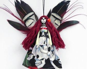 Day of the Dead fairy ornament, handmade peg doll decoration, keepsake