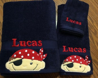 Pirate Personalized Towel Sets, Pirate Birthday, Pirate Decor, Personalized Bathroom Decor, Personalized Bath Towel,  Pirate Gift for Boy