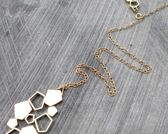 Long Gold Lariat Necklace, Y Necklace, Geometric, Statement, Adjustible, Elegant