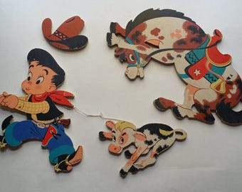 Vintage 1950 Dolly Toy Cowboy and Horse Wall Decor / Pin Ups for Nursery or Playroom, 4 Pieces, Great Graphics, Color -- Western, Midcentury