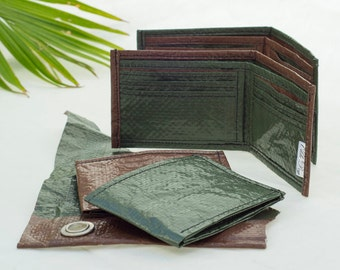 The Olde Billfold, Recycled Tarp cloth, Bifold Wallet, upcycled repurposed, camping tarp, slim wallet
