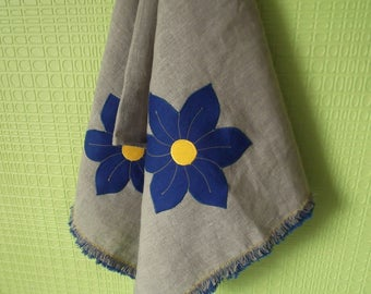 Organic grey washed linen towel hand towel with anemones application kitchen spring decor gift idea