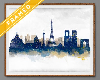 Anniversary Gift  Paris Cityscape FRAMED Skyline Watercolor Art Print Poster Ready to Hang