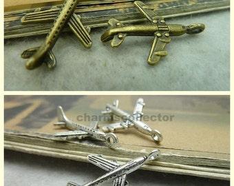 30 airplane charm pendant 15x24mm antique bronze (w3523)/ antique silver (w6729) wholesale zinc alloy charms
