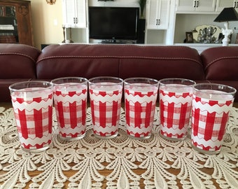 Vintage Tumblers, Red and White Gingham Check Glasses, Gingham Check Tumblers, Drinking and Water Glasses, Set of 6 Tumblers, Housewares
