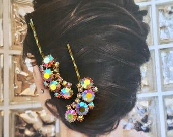 Juliana Pink Aurora Borealis Bridal Hair Pins Jewelry Vintage 1940 1950 Crystal Waterfalll Rhinestone Decorative Hairpins Bobby Pins