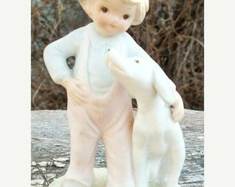 ON SALE Vintage Christopher Collection Figurine Lefton China 1982  03845 Hand painted Boy With His Dog Ceramic Figurine