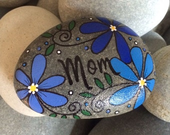 Happy Rock - Mom - Hand-Painted River Rock Stone - blue daisies pansies flowers - mommy mother