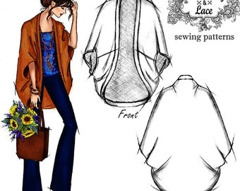 VERY EASY SEWING Pattern for Cardigan, Cocoon Cardigan, Cardigan