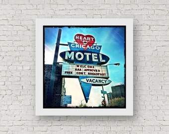 Chicago Art - Heart O Chicago - Vintage Neon Sign Photography Print - 8x8 square photo