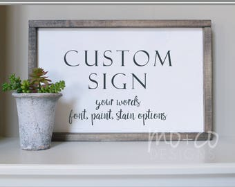 Custom Wood Sign - Personalized Framed - Quote