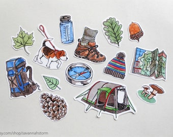 sticker set- outdoors, nature, hiking | journal art supplies crafts