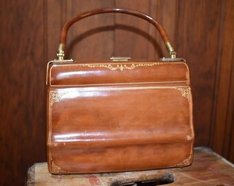Vintage Scuola del Cuoio Brown Leather Handbag with 22 KT Gold Decoration