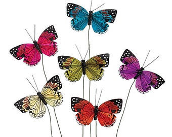 24 Butterflies on Wire Pick Assorted Colors Ideal for Crafts, Floral Arrangements, Flower Pot Butterfly Embellishments