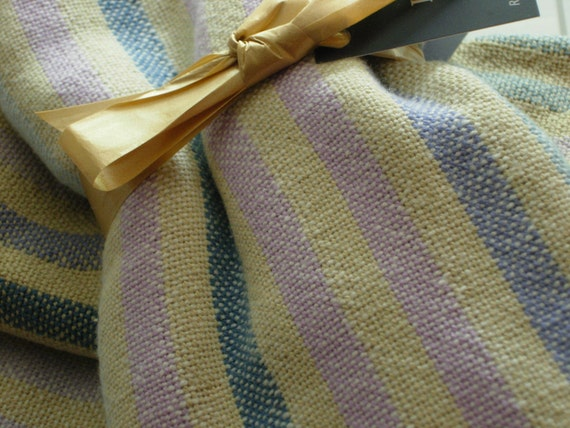 Handwoven Cotton Towel Bluebells and Lilacs striped 100% Cotton 19 x 29.5 inches