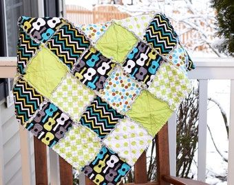Guitar baby quilt, green baby quilt, funky baby quilt, colorful baby quilt, ready to ship baby quilt, baby boy quilt, gender neutral quilt
