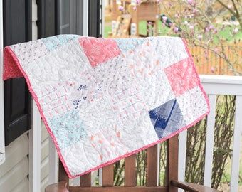 Heart Baby Quilt, ready to ship, Pink baby quilt, blue baby quilt, handmade baby quilt, patchwork baby quilt, baby shower gift,new baby gift