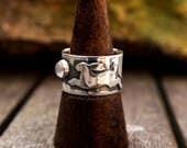 Silver rabbit ring, silver hare ring, moonstone, wide silver ring, chunky silver ring, size O 1/2, size 7 1/2, June birthstone, Hallmark
