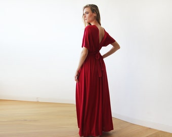 Bordeaux maxi bat wings dress, Formal red maxi gown 1002