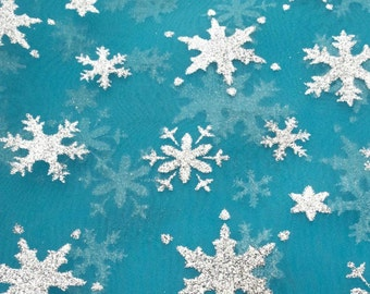 Snowflake Sheer Organza Turquoise 60 Inch Fabric by the Yard - 1 yard