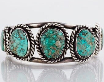 Vintage Cuff - Vintage Native American Sterling Silver Turquoise Cuff Bracelet