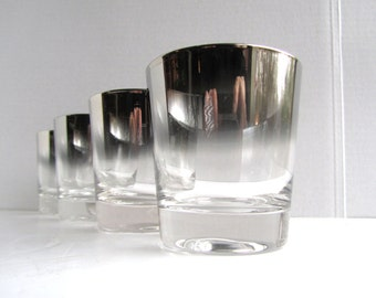Silver Ombre Dorothy Thorpe Style Whiskey Scotch Glasses (Set of 4)