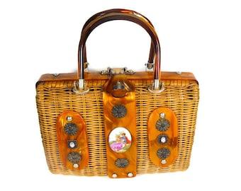 "Vintage ""Stylecraft"" Wicker Purse - 1960's Wicker Purse, Mid Century Wicker Lucite Purse, Copper Marble Lucite Bag, 1960's Wicker Handbag"