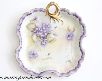 Vintage Artist Signed, Hand Painted, Limoges Inspired, Porcelain Dish with Gold Gilt Handle, Gifts for Her