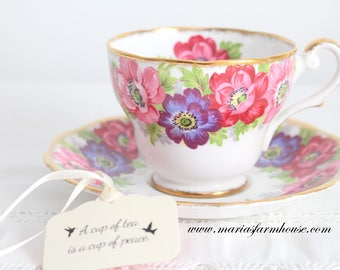 TEA CUP, Vintage Tea Cup and Saucer by Royal Standard, Carmen Pattern, High Tea Party, Gifts for Her, Replacement China - ca. 1960s