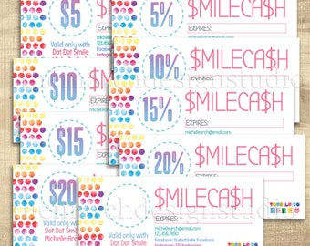 Dot Dot SmileCash, Dot Dot Smile Cash, Dot Smile Marketing, Dot Smile Gift Certificate, Personalized, Digital, Custom, bright