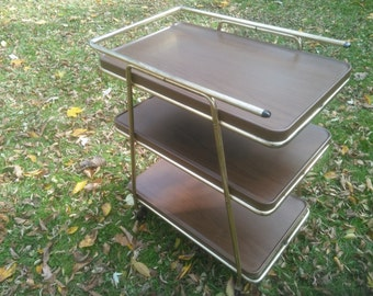 Vintage Metal Utility Cart   Bar Cart   Brown Wheeled Cart   Brown Metal  Cart