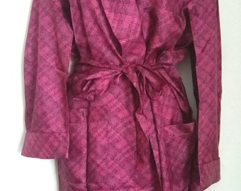 Vintage sixties raspberry smoking jacket sz