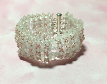 White Pink Bracelet Beaded White Cuff White Bead Bracelet White Pink Cuff Pink Beaded Bracelet Tile Bead Bracelet Bead Woven Bracelet