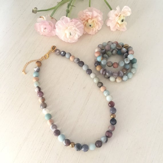 Semiprecious stone necklace and beaded bracelets set diffuser jewelry