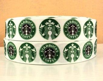 """7/8"""" Starbucks Green Grosgrain Ribbon"""