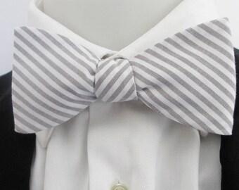 Bowtie - Grey and white stripe bowtie  -  gray and white stripe bowtie