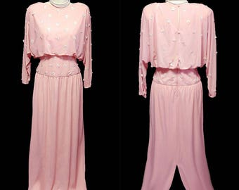 Vintage 70s Lillie Rubin Pearl Paillettes Pink Evening Gown Mother of the bride designer evening gown pink evening gown beaded evening gown