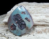 Enameled Copper Pendant~Rustic Teardrop Weather Turquoise~Copper Accent~Bohemian Pendant~Boho~Enameled