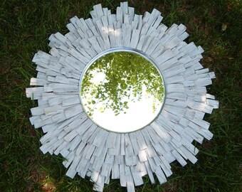"""27"""" Whitewashed Wood Sunburst Mirror, cottage art MADE to ORDER"""
