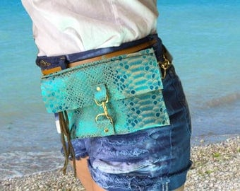 Leather Mermaid Hip Bag and Purse