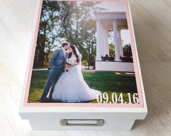 Memory Box with Wedding Photo - Wedding Box - Wedding Memory Box - Wedding Card Storage - Wedding Photo Storage - Wedding Keepsake Box