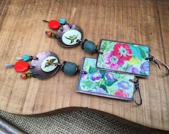 Rustic Vintage Tin  *Flourishes* earrings n270- Floral Tin . Garden . Repurpose Tin . Artisan tribal Assemblage  Gypsy Vintage Tin