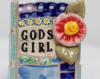 GODS GIRL, mosaic wall art, gift, mosaic, mosaic art