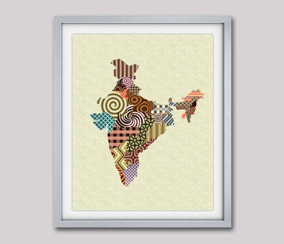 India Map, India Art Print Poster Wall Decor, New Delhi Wall Art, Urban Map Art Giclee Art Print Travel Art, Abstract Art