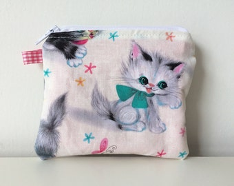Vintage Kitties Zippered Pouch - Coin Pouch - Cats Coin Purse - Small Pouch - Cute Accessories, Card Holder, Small Accessories Bag