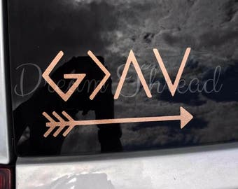 God is Greater than your highs and lows, ups and downs, Believe, Faith, Hope, Blessed, Ichthys Decal, car decal, christian, jesus, yeti deca