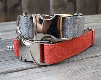 Modern Burlap Dog Collar in Red - Red Burlap with Colored Confetti, Silver Metal Buckle