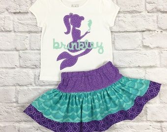 Mermaid - Personalized with Teal or Gold Mermaid Birthday Outfit